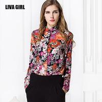 Spring 2015 vintage flower print blouse collar long sleeve chiffon shirt Plus Size women Clothing blusas femininas CS106