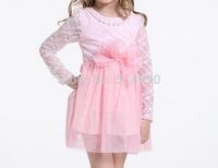 2015 latest spring models children dresses girls long-sleeved lace bow princess dresses girls dresses