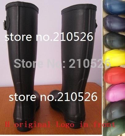 women fashion Original name brand H tall Knee-high rain boots low heels knee high waterproof welly boots rainboots water shoe(China (Mainland))