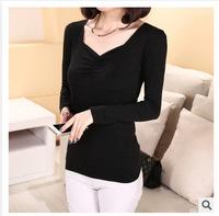 Original Single 2015 Spring Fashion Women T-shirts Modal Wrinkles V-Neck Base Shirt Puff Long Sleeve Tees CGT5115