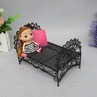 European creative gifts for children mini dollhouse furniture wrought iron mini princess bed free shipping