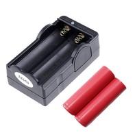 2 Pcs Original Sanyo 18650 2600mAh Rechargeable Batteries Plus Charger