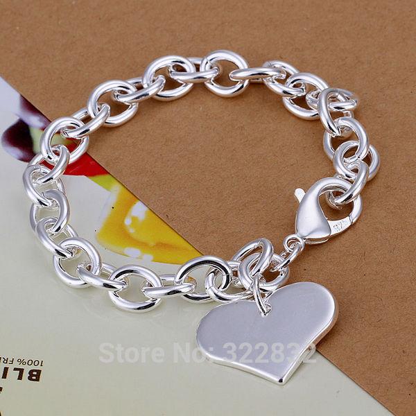 Female bright love heart chain link bracelet bangle party birthday