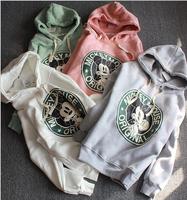 Winter new Korean  plus thick velvet hooded sweater female long-sleeved printing