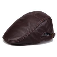 2015 brief fashion genuine leather hat sheepskin quinquagenarian general winter cap