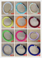 10 pcs braceletsRainbow Gift high quality stardust crystal mesh tube magnetic bracelets bijoux jewelry