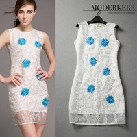 2015 New Limited Polyester Knee-length Dress Mooerkerr [ Clearance ] Hit Color Embroidered Heavy Stereo Vest Dress Wholesale