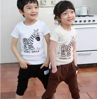 2014 summer paragraph cartoon zebra children suit cotton short-sleeved suit Korean children's clothing trade