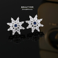 White Gold Plated SnowFlake Earrings 5A+ CZ Pierced Earrings 925silver Back Finding Anti Allergic Wholesale Beautyer BEH42