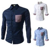 Free shipping men's long-sleeved plaid shirt pocket of high-quality fashion casual long-sleeved shirt size M-XXL-8677