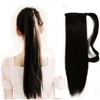 "Free Shipping 18"" 100% Natural Clip in Drawstring Ponytail Hair Extensions, Natural Color Straight Colas de Caballo Pelo Humano"