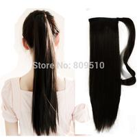 "Free Shipping 18"" 100% Natural Clip in Drawstring Ponytail Hair Extensions, Natural Color Straight Colas de Caballo Pelo Humano"