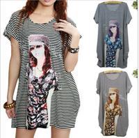Summer Women dress Casual Beautiful Girl and Stripe Print Large Size Ice Silk Beach Dress