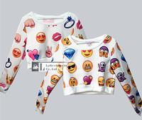 Hot!! harajuku Casual print punk emoji Women T shirts print  women's  clothes crop top unisex emoji jogger t shirt