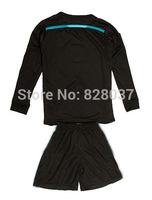 New Fashion Uniforms Kit Youth Kids A. Ayew Lemina Mandanda Black Jerseys Soccer Jersey 2014-2015 Payet Long Sleeve 3RD Jersey