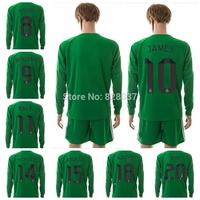 New Fashion Real Casillas CHICHARITO James Kroos Ronaldo Soccer Jersey 2014-2015 Green Long Sleeve Uniforms Goalkeeper Jerseys