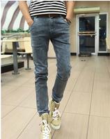 2015 Men's Denim Embroidery Letter Blue Fashion Design Classics Scratched Slim New Arrival Brand Man Denim Jeans