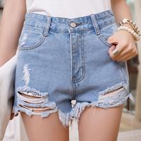 New 2015 Summer Fashion Women Shorts Leisure Solid High Waist Shorts Denim Hole Fringe All-match Sexy Short Pants Jeans Shorts
