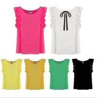 2015 Hot Sale Fashion Blouses Summer Ruffled Pleated O-neck Chiffon Bow Decoration Women Shirt Top Women blusas femininas