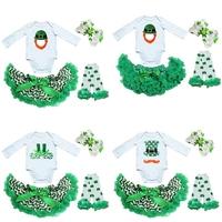 Baby Green Chevron Pettiskirt Plus St. Patricks Day Leprechaun Shoes White Long Sleeves Bodysuit Headband and Leg Warmers
