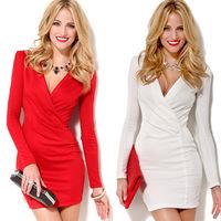 Women Spring Dress 2015 New Womens Sexy V Neck Strapless Casual Mini Shirt Dress White club sheath Draped Dresses SM-060