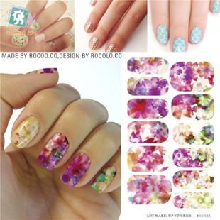 Kh012a печатание перехода воды ногтей наклейки красочные кленовый лист дизайн ногтей ...
