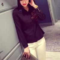 2015 Fashion Women Chiffon Blouse Paillette Decorated Shirt Chiffon Camisa Long Sleeve Lapel Tops OL Office Shirt EG9059