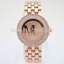 2015 new women watches, luxury brand name M-LOGO bracelet jewelry, diamond stone watch, Valentine's Day gift free shipping