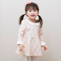 2015 Spring Long Sleeve Sweet Cute Baby Girls Floral Dress Lace Cotton 2-7 Years