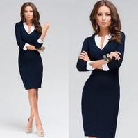 Hot Sale Women Dress 2015 New Brand Fashion V-neck Tights Work Wear Winter Dress Plus Size White Collar Casual Office Dress Blue