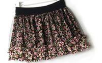 Free shipping 2015 spring and summer new chiffon floral stitching gauze tutu skirt wholesale wild elastic waist bust
