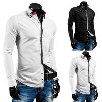 Free Shipping Men's Long-sleeved Shirt Slim Fashion Shirt High-quality European And American Popular Models Sizes M-xxl-8697