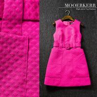2015 Vestidos Femininos Party Dresses Dress Mooerkerr New Winter Fashion Stitching Dimensional Grid Sleeveless Dress To Join