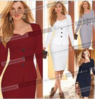 Women Dress 2015 Spring New Blue Patchwork Button Stitching Stretchy Pencil Shift Slim Bodycon Wear to Work Midi Party Dress