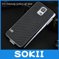 For Samsung SM-G800F G800H Galaxy S5 mini Carbon Fiber Chrome Plated Hard Cover Case,luxury hard case For Galaxy S5 mini+Film