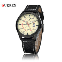 2015 CURREN Women Unisex Stylish Quartz Analog Watch Original Leather Strap Wristwatches Watches Men Reloj Hombre Marca De Lujo