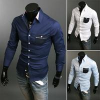 Free shipping men's long-sleeved shirt sportsman style high quality fashion casual long-sleeved shirt size M-XXL-9091