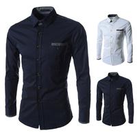 Free shipping men's long-sleeved shirt sportsman style high quality fashion casual long-sleeved shirt size M-XXL-8672