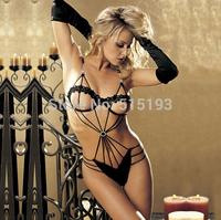 014 Hot New Women Lady black Sexy Erotic Lingerie Halter Lace three point set open bra Teddy bodysuit Babydoll Sleepwear