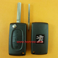 peugeot 307 remote key 3 button flip remote key with 307 blade (Light middle button)  433Mhz ID46 Chip