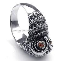 Jewerly Men's 316L Stainless Steel Titanium Antique Owl Gemstone Biker Party Punk Ring M072895