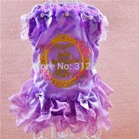 On Sale Pink Purple Lace Princess Pet Dress For Dogs Puppy QC4 S Poodle Yorkshire Cat Apparel Cat Designer Clothing Supplies