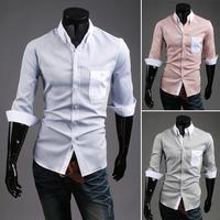 Free Shipping Men's Short-sleeved Shirt Slim Stylish Plaid Shirt Thin Fabric Of High Quality Size M-xxl-9101