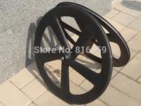 Full Carbon Matt ( 3K ) Road Bike Five Spokes Clincher Wheelset Rim Depth : 65mm Wheel set