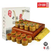 CHINA CHESS Set full bamboo chess box Large bamboo sub chess leather board gift bag