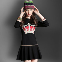 Fashion New 2014 Autumn Winter Flouncing Embroidery Casual Tops Plus Size o-neck Women's Sexy Dress Female Vestidos