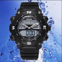 Free Shipping Fashion OHSEN Men Waterproof Sport Watch Running/Biking Sport Wrist Watch Army Table Dual Time Digital Backlight