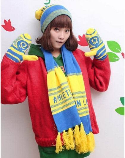 Top Quality One Set Brand Designer Women's Knitted Scarf Hat And Gloves Set Cheap Wholesale Winter Scarves Mittens(China (Mainland))