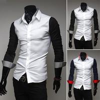 Free shipping men's long-sleeved shirt sleeve stitching design high-quality fashion casual long-sleeved shirt size M-XXL-9053