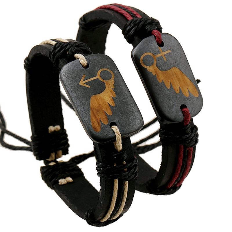 Hot Sale New Fashion Genuine Leather Bracelets & Bangles Bone Alloy Bracelet Cuff For Lovers Wholesale(China (Mainland))